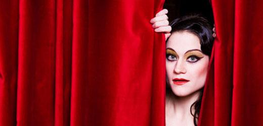 Dancer behind curtain